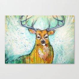 Deer in the Rain Canvas Print