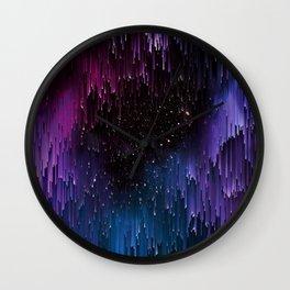 Ultra Violet Glitch Galaxy Wall Clock