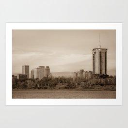 University Tower and Downtown Tulsa Skyline Sepia Art Print