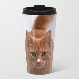 Ginger Kitty Discovers Snow! Travel Mug