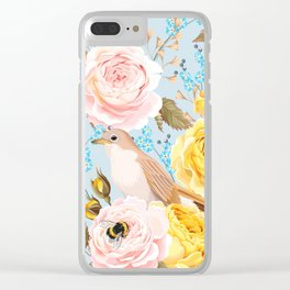 Birds & Bees Pink Yellow Floral Kingdom Sumptuous Fantasy Flower Pattern Clear iPhone Case