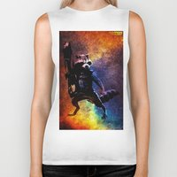 rocket raccoon Biker Tanks featuring Guardians of the Galaxy series: Rocket Raccoon  by Steal This Art