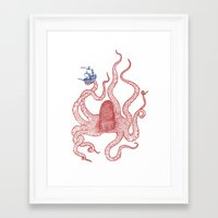 kraken Framed Art Prints featuring Kraken by Andrew Henry