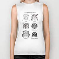 coffee Biker Tanks featuring Caffeinated Owls by Dave Mottram