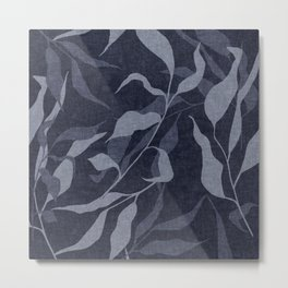 Boho, Leaves, Minimalist Wall Art with Faux Linen Aesthetic, Navy Blue Metal Print