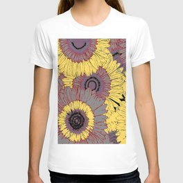 Modern Abstracted Grey Yellow Deco Sunflowers T-shirt