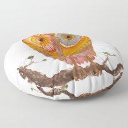Cute Golden owl watercolor illustration Floor Pillow