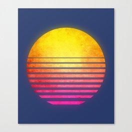 Vintage Retro 80's Synthwave Sun Canvas Print