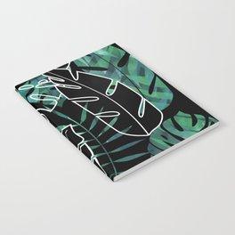 Dark tropical leaves pattern Notebook