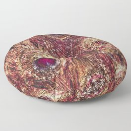 Golden Ruby Peacock Floor Pillow
