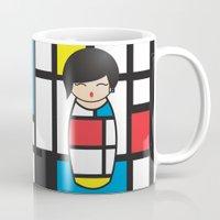 mondrian Mugs featuring Kokeshi Mondrian by Pendientera