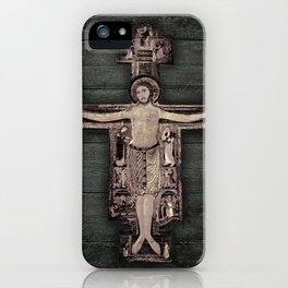 Medieval Style Jesus Christ on Cross Sculpture Artwork iPhone Case