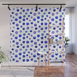 Blue polka dot watercolor pattern Wall Mural
