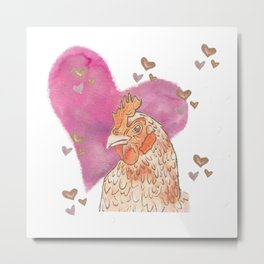 Chicken Love Metal Print