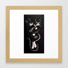 Two Headed Tuxedo Cat Framed Art Print
