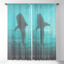 Whale shark silhouette Sheer Curtain