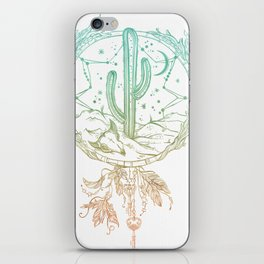 Desert Cactus Dreamcatcher Turquoise Coral Gradient on White iPhone Skin