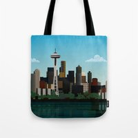 seattle Tote Bags featuring Seattle by WyattDesign