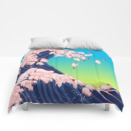 Christmas Baby Pigs The Great Wave in Blue Comforters