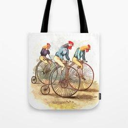 Racing Roosters Tote Bag