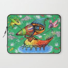 He always was an odd duck! green background Laptop Sleeve
