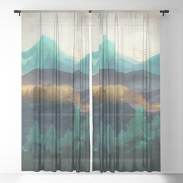 Green Wild Mountainside Sheer Curtain