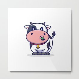 Cute Cow Eating Grass Cartoon Icon Illustration Animal Icon Concept Isolated Flat Cartoon Style Metal Print