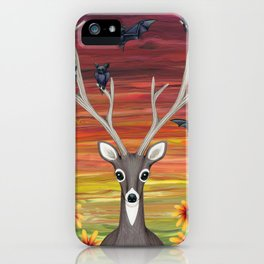 white tailed deer, bats, black eyed susans iPhone Case