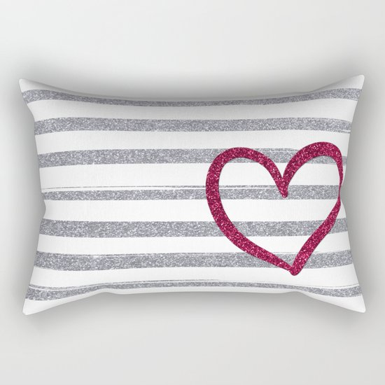Red Heart on Shiny Silver Stripes Rectangular Pillow