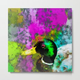 mallard duck with pink blue green yellow painting abstract background Metal Print