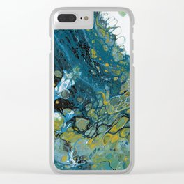 Teal Waves Clear iPhone Case