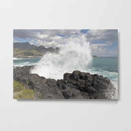 MAGIC WAVES on the BEACH of SICILY Metal Print