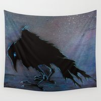 raven Wall Tapestries featuring Raven by Christine's heART