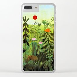 """Henri Rousseau """"Exotic Landscape with Lion and Lioness in Africa"""", 1903-1910 Clear iPhone Case"""