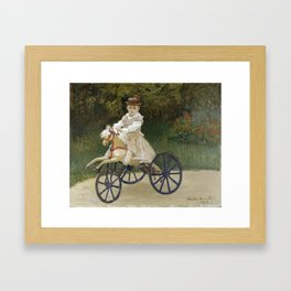 Jean Monet on his Hobby Horse 1872 by Claude Monet Framed Art Print
