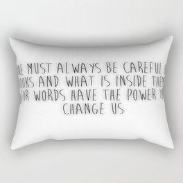One Must Always Be Careful Of Books (white) Rectangular Pillow