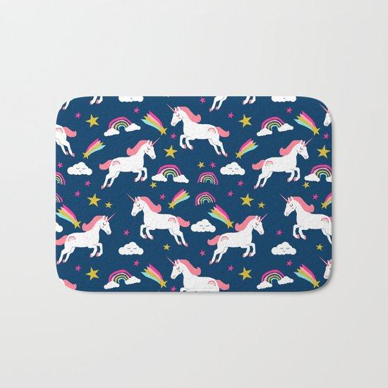 Unicorns happy clouds rainbows magical pony pattern navy pastels Bath Mat