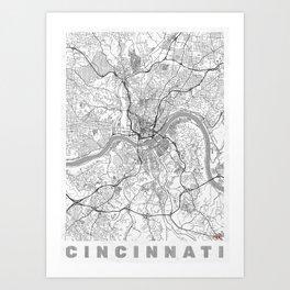 Cincinnati Map Line Art Print