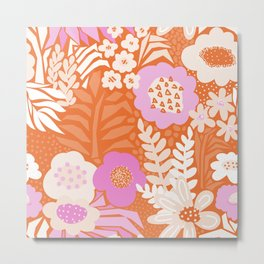 Abstract Vintage Large Florals Meadow Red Pink Orange White Pattern Metal Print