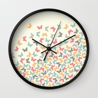 butterflies Wall Clocks featuring Butterflies by Juste Pixx Designs