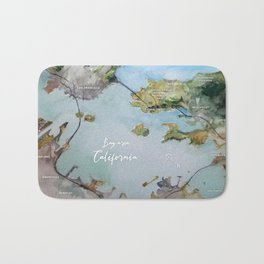 SF, San Francisco, Oakland, Bay Area, California Watercolor Map Art Bath Mat