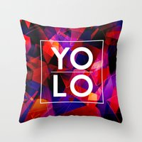 sayings Throw Pillows featuring Dreams of YOLO Vol.2 by HappyMelvin
