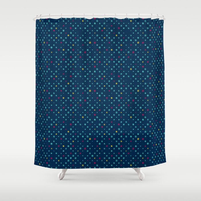LOTS OF DOTS Prussian Blue Turquoise Green Deep Red Yellow Shower Curtain