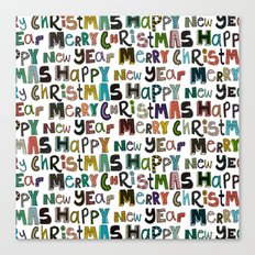 white merry christmas and happy new year Canvas Print