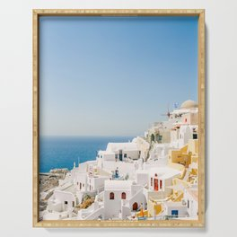 Santorini 0017: White houses in Oia, Santorini, Greece Serving Tray