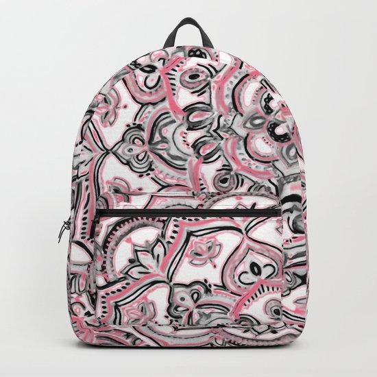 Magical Mandala in Monochrome + Pink Backpack