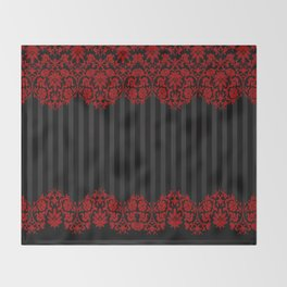 Beautiful Red Damask Lace and Black Stripes Throw Blanket