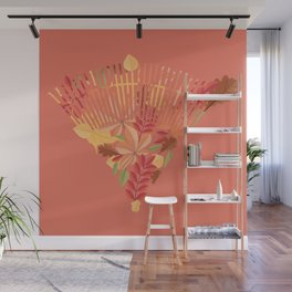 Autumn fallen leaves with rake design illustration Wall Mural