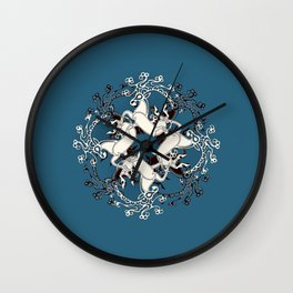 Celtic or Viking Deer Pattern - Teal Wall Clock