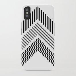 Geometric - Arrows, Black & White Striped iPhone Case